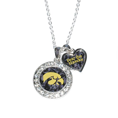 Sports Team Accessories Iowa Hawkeyes Logo and a Heart Shaped Charm Necklace Featuring Team Slogan