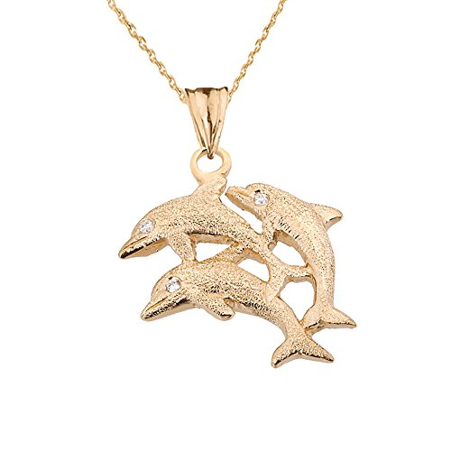 Exquisite 14k Yellow Gold 3 Diamond-Eyed Dolphins Pendant Necklace, 16