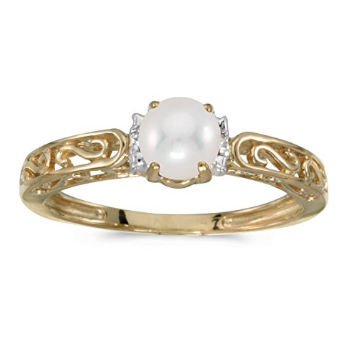 - 0.01 Carat ctw 10k Gold Round Cream Pearl & Diamond Accent Swirl Filigree Engagement Promise Fashion Ring - Yellow-gold, Size 7
