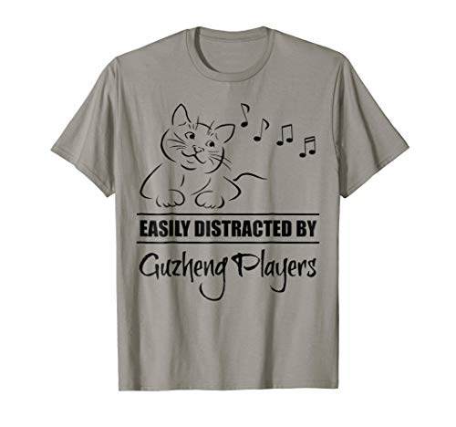 Curious Cat Easily Distracted by Guzheng Players Music Notes T-Shirt