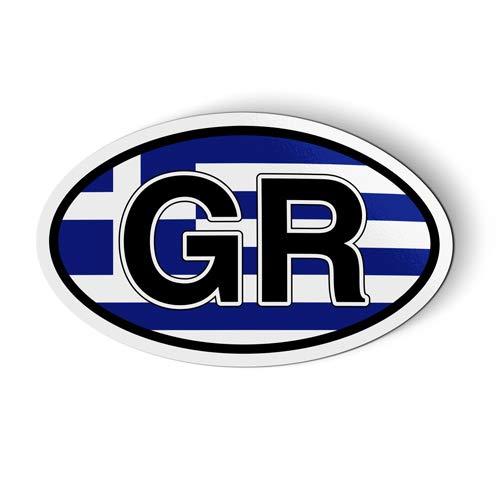 Greece GR Flag Oval - Magnet for Car Fridge Locker - 5.5