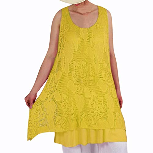 LISTHA Lace Tunic Tank Tops Plus Size Women Summer Vintage Sleeveless Mini Dress Yellow