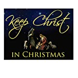 VictoryStore Yard Sign Outdoor Lawn Decorations - Keep Christ in Christmas Lawn Display (Black Design) - Yard Decoration