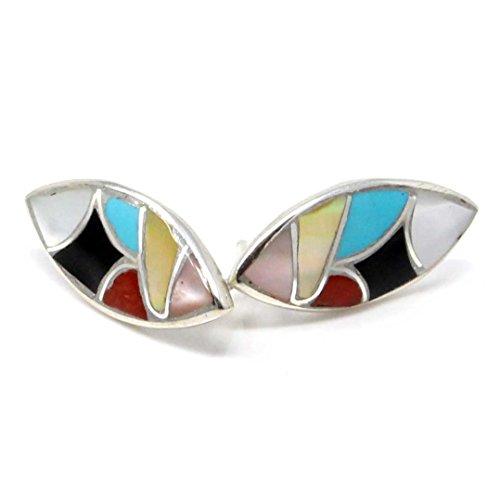 - Zuni Multi-Stone Inlay Oval Stud Earrings
