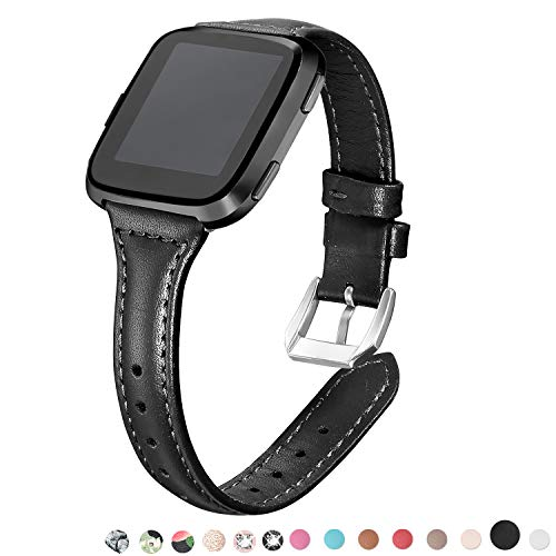bayite Black Bands Compatible Fitbit Versa, Slim Genuine Leather Band Replacement Accessories Strap Women Men, (Womens Slim Black Leather)