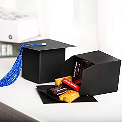 32 Pieces Graduation Candy Boxes Doctoral Cap Gift Box Black Graduation Celebration Centerpieces Chocolate Sweet Box with Dark Blue Tassel for Graduation Ceremony Party: Toys & Games