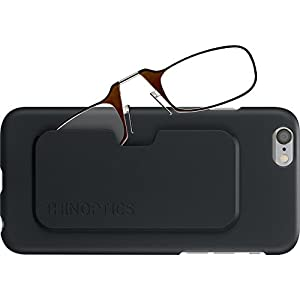 ThinOptics Reading Glasses + iPhone 6 or iPhone 6S Case | Brown Frames, 2.00 Strength