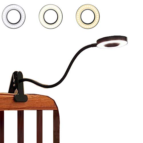 Portable 7W LED USB Dimmable Reading Lights Eye-Care Clip On Desk Lamp for Book,Bed,Headboard,Bedside,Makeup Tables,Computer,Piano with Stable Clamp 11-Level Brightness,3 Color Mode Black/Silver