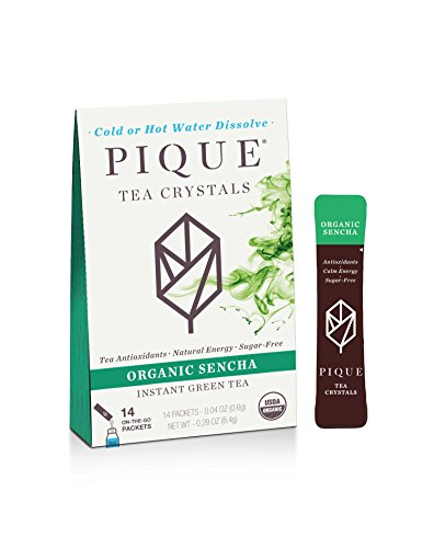 Pique Organic Sencha Japanese Green Tea Crystals, Antioxidants, Energy, Gut Health, 14 Single Serve Sticks (Pack of 1) by PIQUE