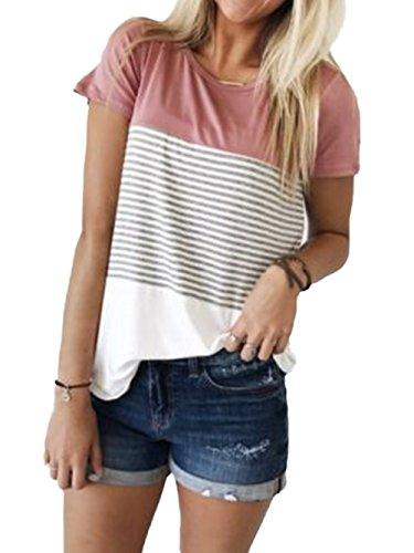 Women's Short Sleeve Triple Threat Colorblock Top Striped Tee - Striped Tee T-shirt