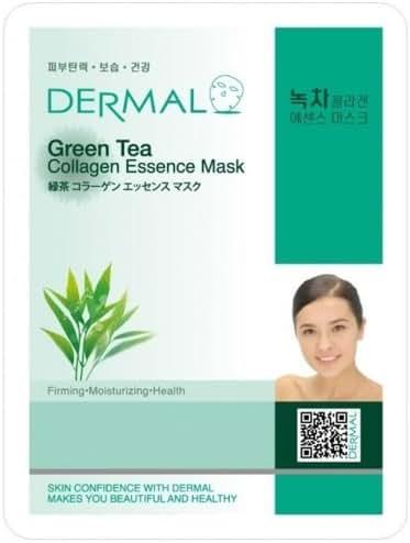 DERMAL Green Tea Collagen Essence Facial Mask Sheet 23g Pack of 10