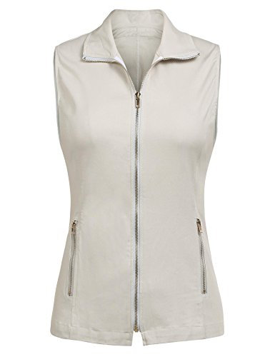 Dealwell Women's Active Casual Lightweight Sleeveless Jacket Vest with Pockets (Beige XL)
