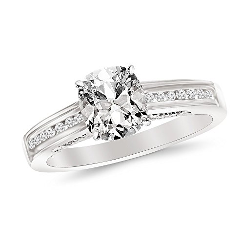 0.7 Cttw 14K White Gold Cushion Cut Channel Set Round Diamond Engagement Ring with a 0.5 Carat F-G Color VS1-VS2 Clarity Center