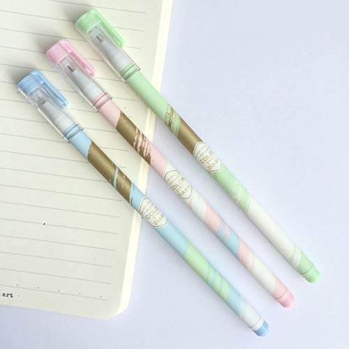 ICRI-SHOP 3 Pcs Golden Pastel Colorful Life Gel Pen Rollerball Pen School Office Supply Student Stationery Black Ink 0.38mm ()
