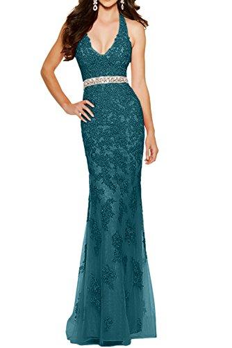 Ausschnitt V Blau Meerjungfrau Figurbetont La mia Braut Partykleider Sexy Tief Formalkleider Abendkleder Ballkleider Dunkel XqaCpfSwnx