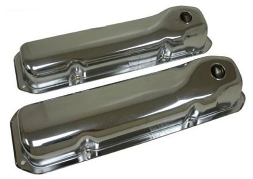 Steel SB 351C-351M-400M-Boss 302 Valve Covers Smooth Chrome Compatible with 1969-82 Ford Models