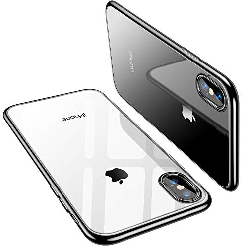 TORRAS Crystal Clear iPhone Xs Max Case, Soft TPU Thin Cover with Electroplated Edge Slim Case for iPhone Xs Max 6.5(2018) - Black