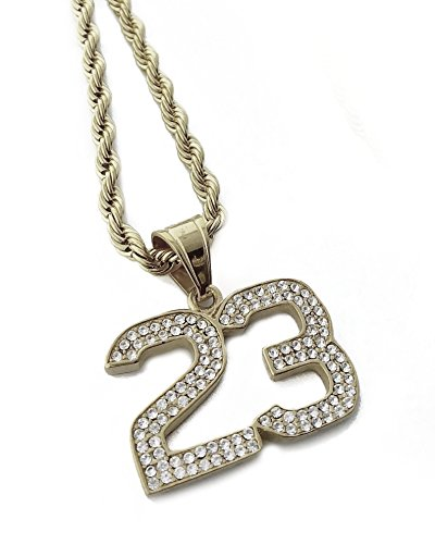 Exo Jewel Iced Out Number 23 Pendant Stainless Steel Necklace with 24