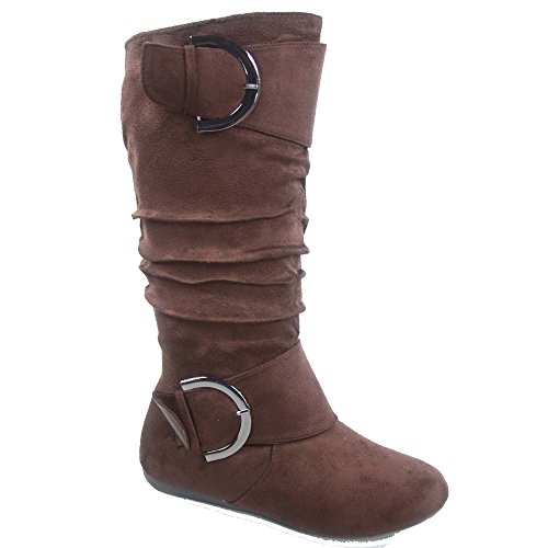 Top Moda Bank-81 Women's Fashion Round Toe Flat Heel Zipper Buckle Slouchy Mid-Calf Boot Shoes (8, Brown) (Brown Mid Boots Calf)