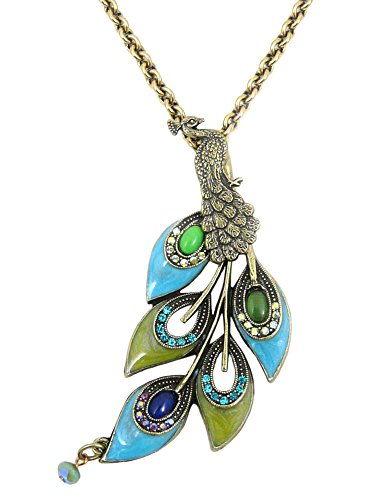 Mary Demarco Peacock Feather Pendant Necklace, Crystal Enamel on American Pewter, Adjustable 25-27 Inches ()