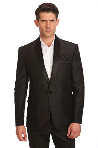 WINTAGE Men's One Button Shawl Collar Party Black Blazer Coat,XX-Large/46 - One Button Jacket In Satin