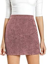 MakeMeChic - Falda de Ante sintético para Mujer con Cierre en la Parte Trasera