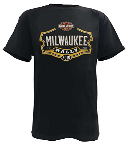 [Harley-Davidson Men's Milwaukee Rally Short Sleeve T-Shirt, Black B112763 (L)] (Milwaukee Harley Davidson)