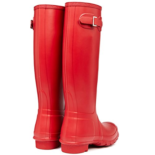 Womens Hunter Original Tall Wellington wasserdichte Winter Schnee Regen Stiefel Jäger Rot
