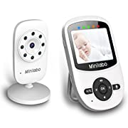 Minilabo Video Baby Monitor Wireless Digital Camera with Night Vision,Two Way Talk Audio, Zoom Pan & Video Long Range & Temperature Monitoring,Wall Mount (White) …