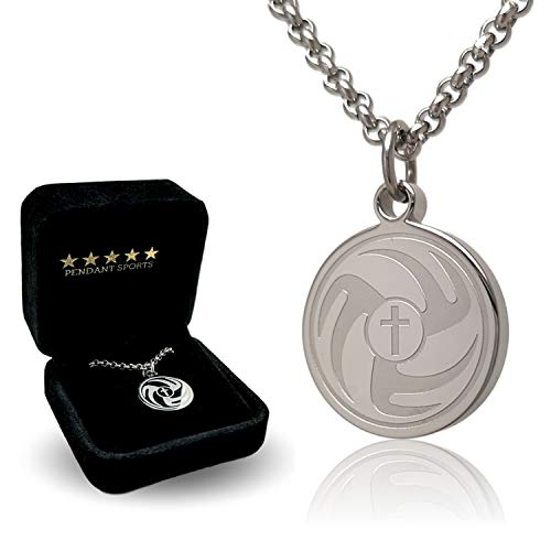Old Time Football Player - Prayer Necklace Crafted in Stainless Steel with Luke 1:37 on The Back, Presented in a Black Velvet Box Available in Baseball, Football, Hockey, Racing, Soccer, Volleyball and Basketball