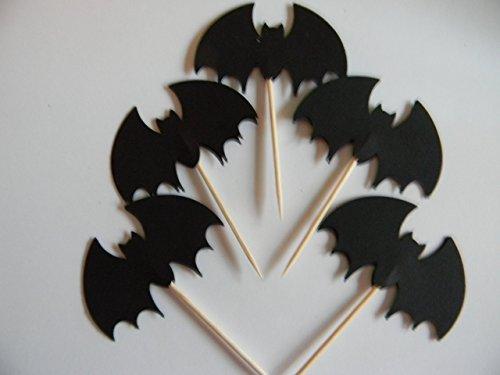 24 bat bats Halloween cupcake toppers party supplies]()