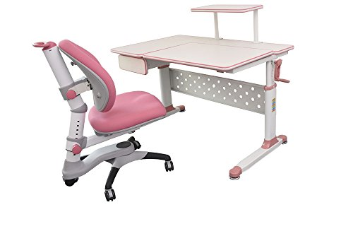 ApexDesk Little Soleil DX 43'' Children's Height Adjustable Study Desk w/ Integrated Shelf & Drawer (Desk+Chair Bundle in Pink) by ApexDesk