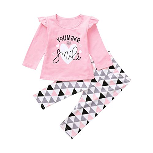 FIged Baby Outsuit Toddler Baby Geometric Letter Print Clothes Top Pants Outfit (Pink, 0-3M)