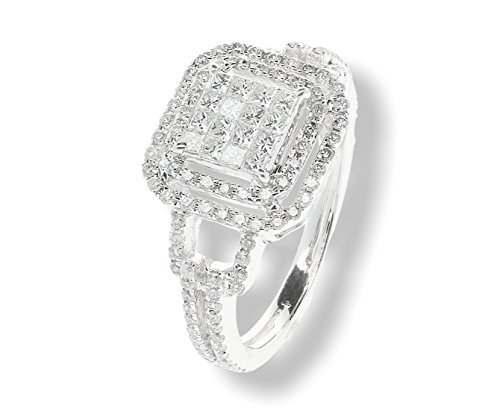 18k Invisible Collection - Diamond Collection- Princess Cut & Round Diamond Ring Solid 14k/18k/Platinum 1.10 carats total weight (1.10ctw)