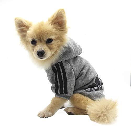 QiCheng&LYS Adidog Pet Clothes,Dog Winter Hoodies Apparel Puppy Cute Warm Hoodies Coat Sweater for Dog Cat (XS, Grey) (Hoodie Pet Dog Sweater)