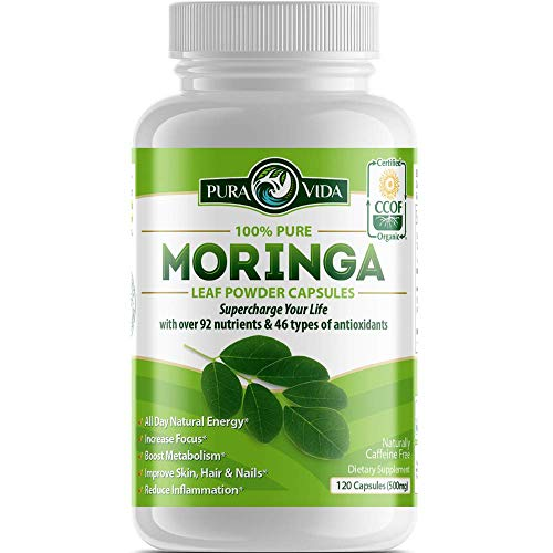 Moringa Capsules by Pura Vida Moringa   Organic Moringa Powder   Natural Joint & Arthritis Pain Relief. Energy…