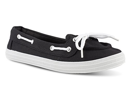 Twisted Women's Canvas Athletic Boat Shoe - CHAMPION11BLACK, Size 6