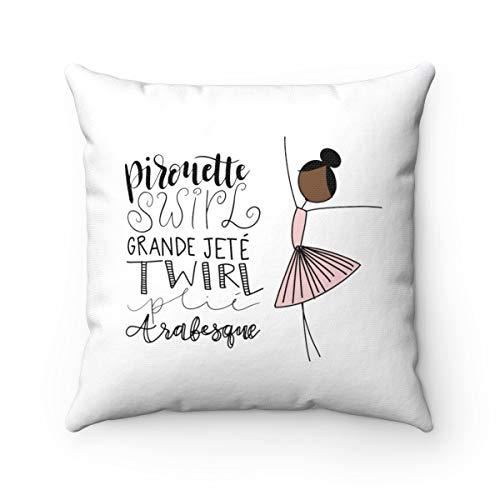 (Georgia Barnard Ballerina Words Canvas Square Throw Pillow Cover Ballet Inspired Accent Pillow Cover Dance Tutu Stick Figure Girls Room Nursery Decor 18 x 18 Inch Pillowcase)
