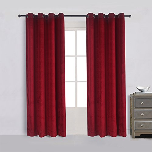 Cherry Home Set of 2 Classic Blackout Velvet Curtains Panels Home Theater Grommet Drapes Eyelet 52Wx96L-inch Red(2 panels)Theater| Bedroom| Living Room| Hotel