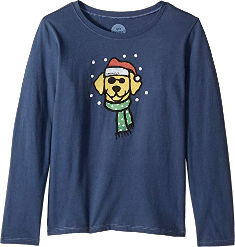 Life is Good Kids Girl's Holiday Dog Crusher Long Sleeve T-Shirt (Little Kids/Big Kids) Darkest Blue X-Large