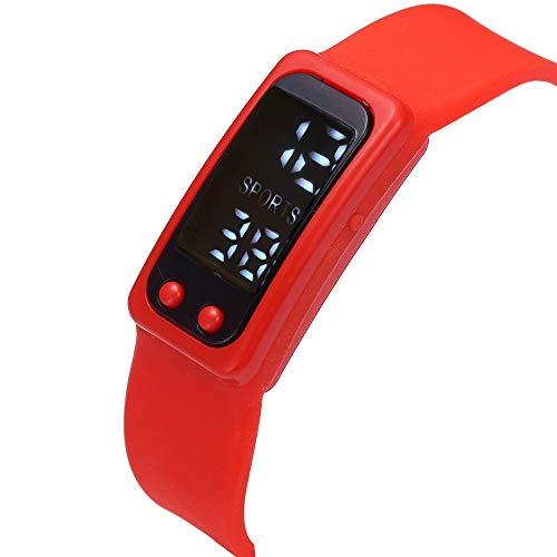 Inkach Womens Smart Wrist Band Pedometer Bracelet Mens Run Step Walking Distance Calorie Counter Watch Digital LCD Clock Sports Watches (Red) ()