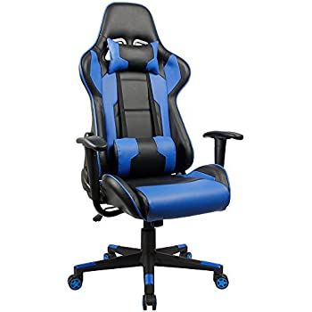 Homall Executive Swivel Leather Gaming Chair, Racing Style High-back Office Chair With Lumbar Support and Headrest (Blue)
