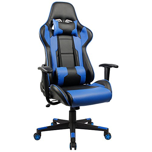 Homall Executive Swivel Leather Gaming Chair, Racing Style High-back Office Chair With Lumbar Support and Headrest (Blue) - Basic Computer Table