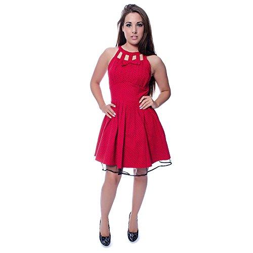 Voodoo Vixen Polka Dot Kleid (Rot/Schwarz)