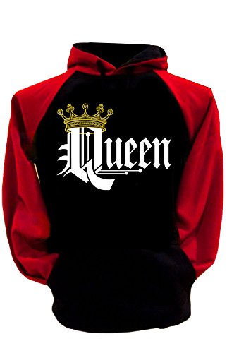 SR Couple Matching King Queen Crown Two Tone Raglan Hoodie Pullover Hooded Sweatshirt-BlackRed-Large-Queen