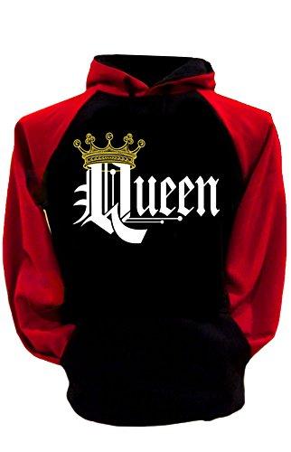 S&R Couple Matching King Queen Crown Two Tone Raglan Hoodie Pullover Hooded Sweatshirt-BLACKRED-XXLARGE-QUEEN