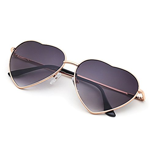Slocyclub Stylish Metal Heart-shaped Frame Sunglasses UV400 Protection for - Sunglasses Topman