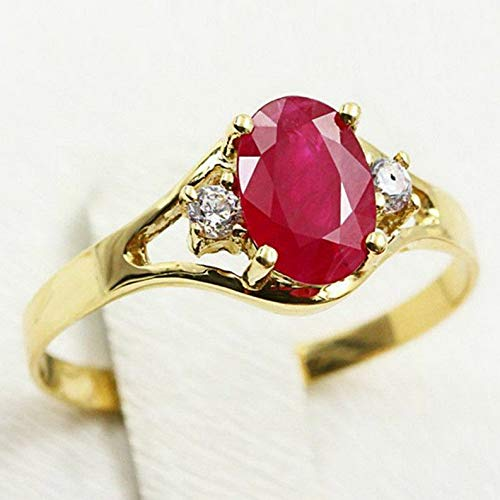 (Tomikko Red Ruby Wedding Stylish Band Womens 18K Gold Plated Engagement Ring Size 6-10 | Model RNG - 25371 | 7)