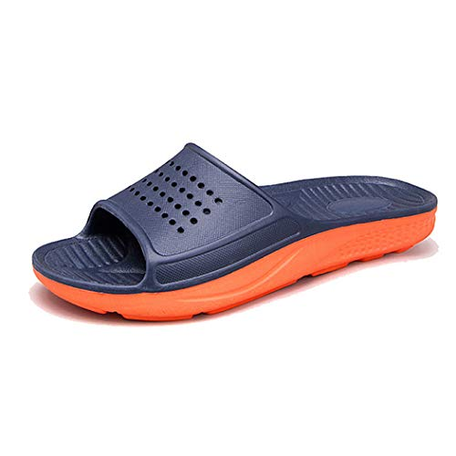 WODEBUY Men's Shower Sandals Antislip Fast Dry Flilp Flop Flats Bathroom and Gym Slider Sandals for Men (8.5, DarkBlue-01) ()