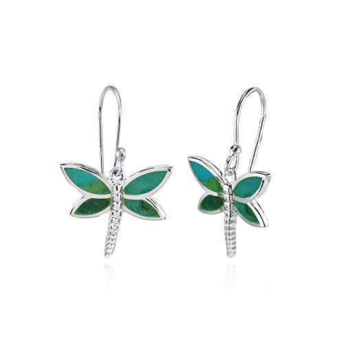 Sterling Silver Simulated Turquoise Polished Dragonfly Dangle Earrings